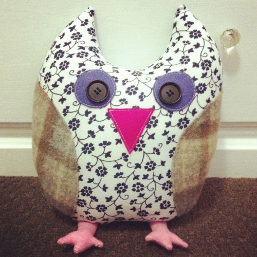 Owlie - upcycled and remnant fabrics plus 100% wool felt