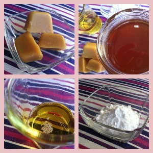 Ingredients (clockwise from top left): beeswax; honey; bicarb soda; macadamia oil