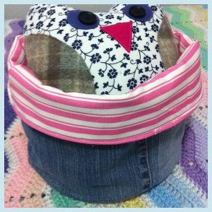 Upcycled jeans storage basket