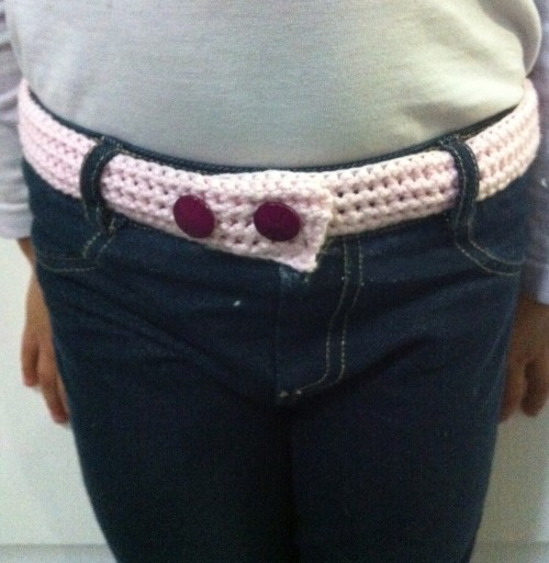 Crochet Belt - leftover cotton yarn with vintage buttons