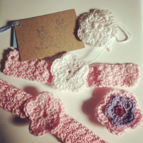 Crochet Accessories - headband, wristband and brooch